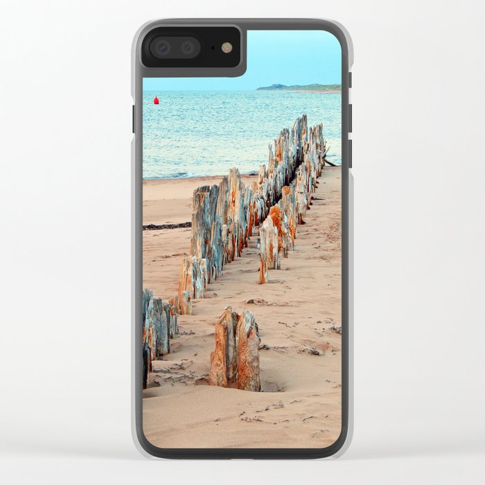 Wharf Remains on the Beach Clear iPhone Case