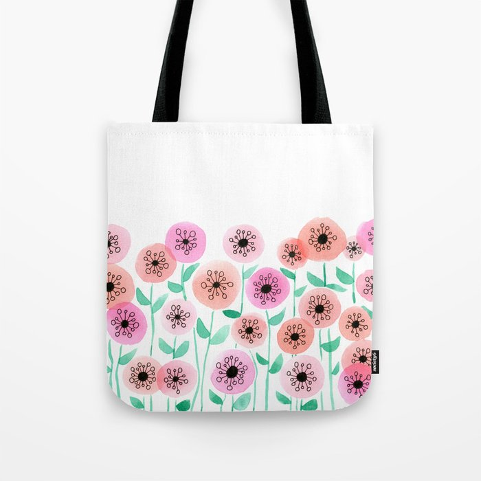 Pink and Peach Floral Watercolor Painting Tote Bag