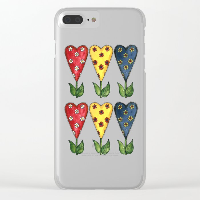 Hearts & Flowers Clear iPhone Case