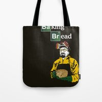 baking Tote Bags featuring Baking Bread by azra