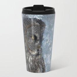 Contemplation - Great Grey Owl Portrait Travel Mug