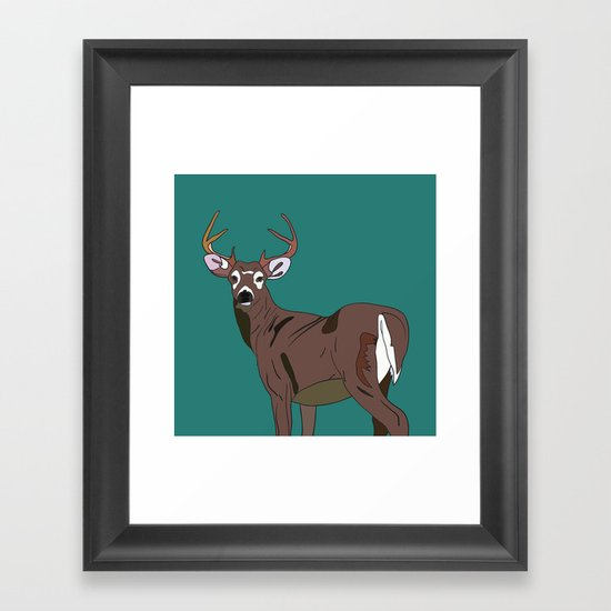 Deer In The Green Framed Art Print