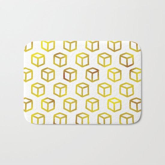 Geometric gold pattern Bath Mat
