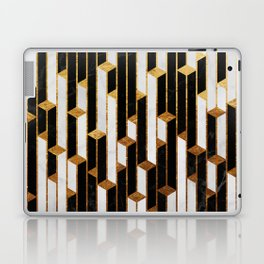 Marble Skyscrapers - Black, White and Gold Laptop & iPad Skin