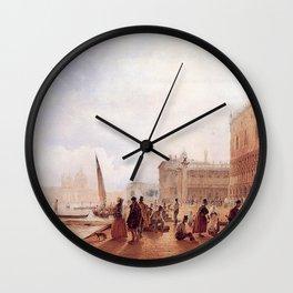 Figures On The Riva Degli Schiavone 1840 by Rudolf von Alt | Reproduction Wall Clock