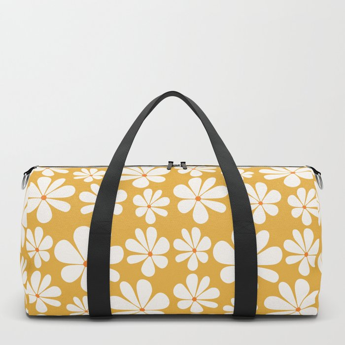 Floral Daisy Pattern - Golden Yellow Duffle Bag