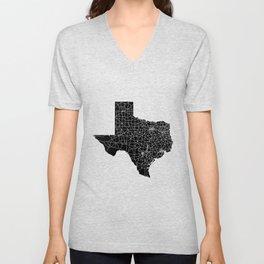 Texas Black Map Unisex V-Neck