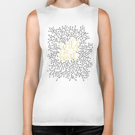Wild at Heart – White and Gold on Black Biker Tank