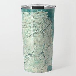 San Francisco Map Blue Vintage  Travel Mug
