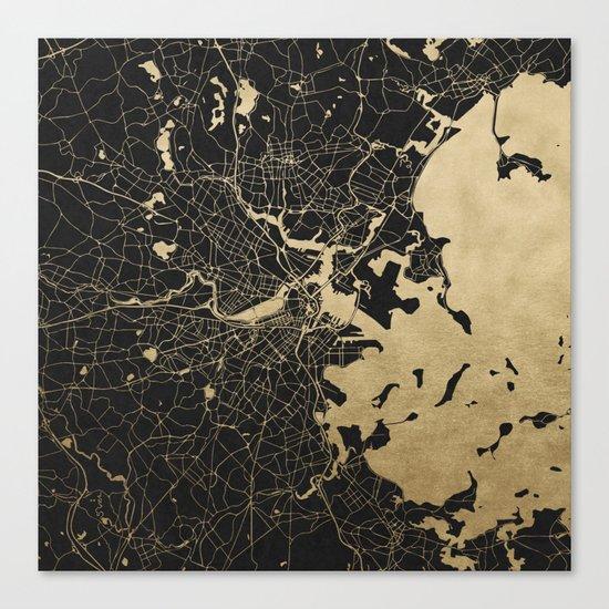 Boston Gold and Black Invert Canvas Print