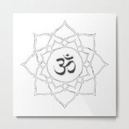 White Lotus Flower Om Symbol Drawing Metal Print