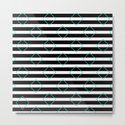 Black and White Stripes And Cyan Blue Squares Pattern by printpix