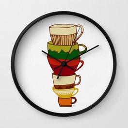 Red Green Yellow Tea Cups Wall Clock
