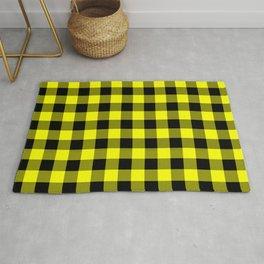 Bright Yellow and Black Lumberjack Buffalo Plaid Fabric Rug