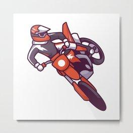 A Sport Guy on Motorcycle. Metal Print