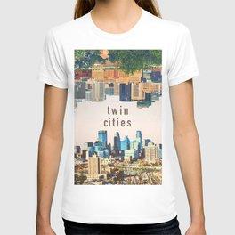 Twin Cities | Minneapolis and Saint Paul Minnesota Skylines | City Collage T-shirt