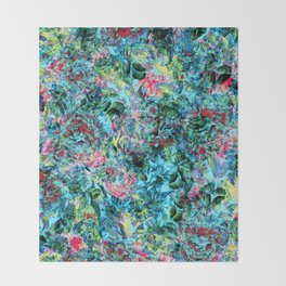 Abstract Floral Chaos Throw Blanket