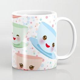 Cute blue pink green Kawai cup, coffee tea with pink cheeks and winking eyes, polka dot background Coffee Mug