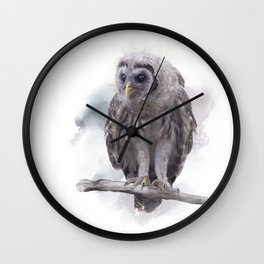 Young Barred Owl Perches on a Branch,Watercolor painting Wall Clock