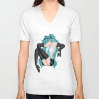 vocaloid V-neck T-shirts featuring Hatsune Miku by Stacy L Gage