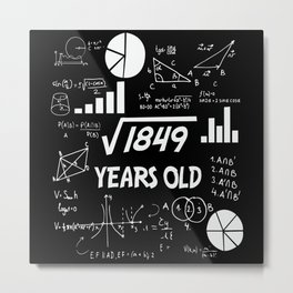 43rd Birthday Square Root Math 43 Years Old Bday Metal Print
