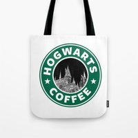 hogwarts Tote Bags featuring Hogwarts Coffee by Beautiful Bibliophile's Boutique