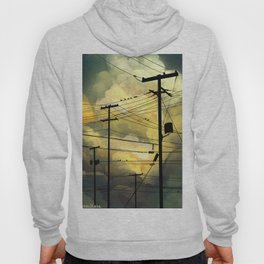 Telephone wires with green clouds Hoody