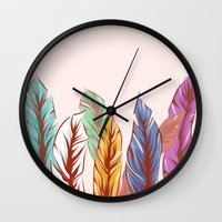 feathers Wall Clocks featuring Feathers by melcsee