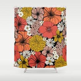 Big Retro Blooms Shower Curtain