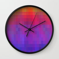 bands Wall Clocks featuring Brilliant Color Bands by Betty Mackey