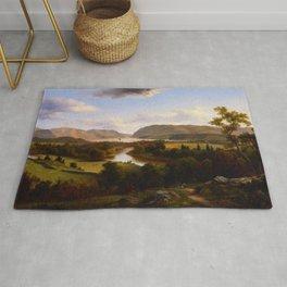 View Rom New Windsor Hudson River 1869 By David Johnson   Reproduction   Romanticism Landscape Paint Rug