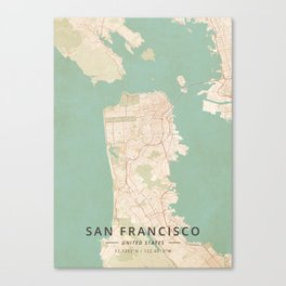 San Francisco, United States - Vintage Map Canvas Print
