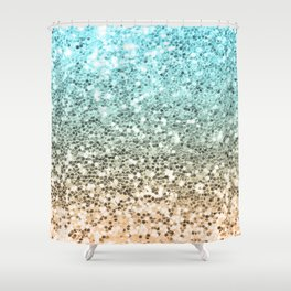 Ombre Mermaid Sparkly Glitters Colorful Blue Gold Cute Girly Shower Curtain