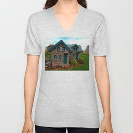 Green Gabled Bottle House Unisex V-Neck