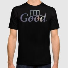 Feel Good | Summer Black Mens Fitted Tee MEDIUM