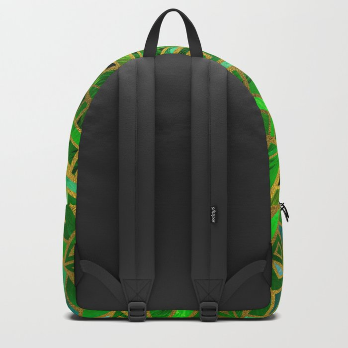 Geometric  Green and Gold African Tribal Pattern Backpack
