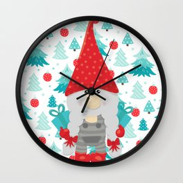 Holiday Gnome with gifts Wall Clock