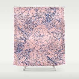 Stylish Metallic Navy Blue and Pink Floral Design Shower Curtain