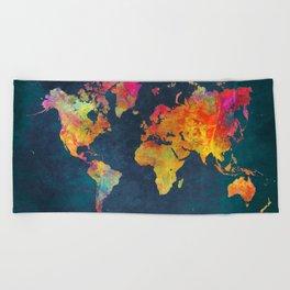 world map colors #map #maps #colors Beach Towel