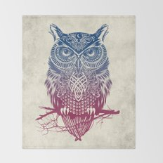 Evening Warrior Owl Throw Blanket