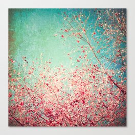 Blue Autumn, Pink leafs on blue, turquoise, green, aqua sky Canvas Print
