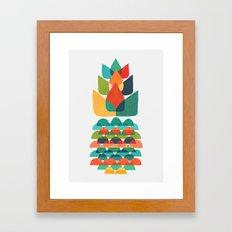 Colorful Whimsical Ananas Framed Art Print
