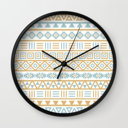 Aztec Influence Pattern Blue White Gold Wall Clock