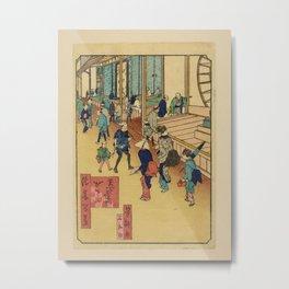 Utagawa Yoshitaki - 100 Views of Naniwa: The Medicine Shop, Nishinari District (1880s) Metal Print
