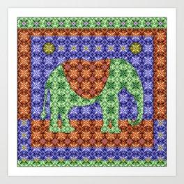 Colorful Tribal Elephant Art Print