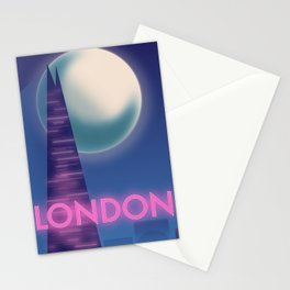 Neon London travel poster Stationery Cards