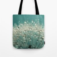 sparkles Tote Bags featuring Cyan Sparkles by Sharon Johnstone