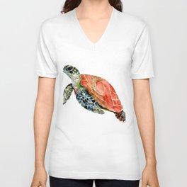 Sea Turtle, turtle art, turtle design Unisex V-Neck