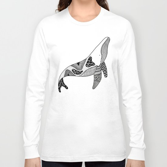 Patchwork Whale Long Sleeve T-shirt