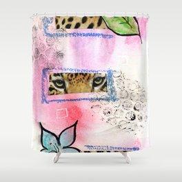 leopard eyes collage Shower Curtain